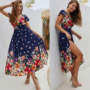 {Aluna Levi}Floral Print Side Slit Dress